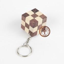 Gra Drewniana Puzzle 3D Kostka 3x3 Breloczek